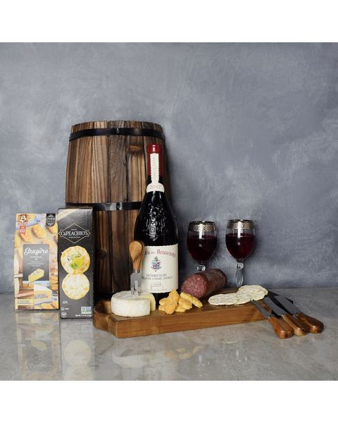 This Gourmet Meat & Cheese Wine Gift Basket
